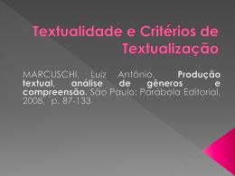 Textualidade e Critérios de Textualização