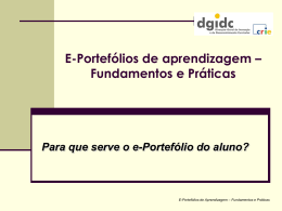 Para que serve o e-Portefólio do aluno?