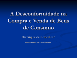 A Desconformidade na Compra e Venda de Bens de Consumo