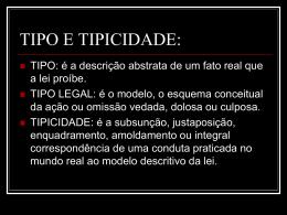 TIPO E TIPICIDADE: