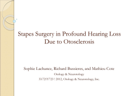 Stapes Surgery in Profound Hearing Loss Due to Otosclerosis