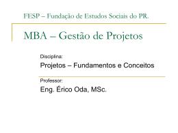 x 901 - Apresentação MBA - Gestão de Projetos