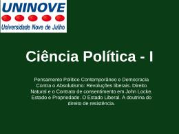 Ciência Política I Aula 5 John Locke