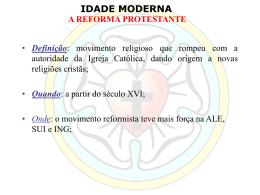 Reforma Protestante - Prof. Carlos A. Guzzo