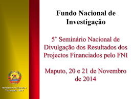 ApresentacaoDirectora - FNI - Fundo Nacional de Investigação