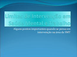 Limites de Intervenção em Saúde Mental e Trabalho