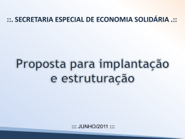 Proposta de estruturação Secretaria Especial de Economia