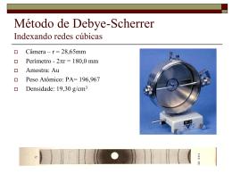 Indexação de redes Cúbicas Filme Debye-Scherrer