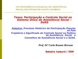 Participação e Controle Social no Sistema Único de