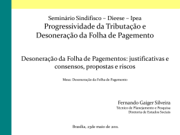 Progressividade da Tributação e Desoneração