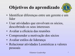 Slides sobre liderança de voluntários