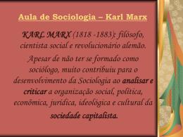 Aula de Sociologia – Karl Marx