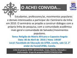 Linha de pesquisa ACHEI: Africanidade, Corpo, História, Educação e