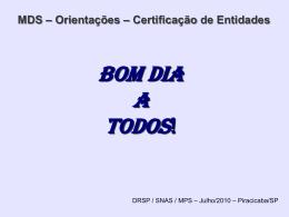 Orientações – Certificação de Entidades