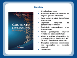 Contrato de Seguros: novos paradigmas – Campo Grande – 2011