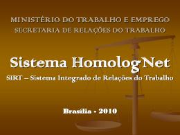 SISTEMA HOMOLOGNET - Apresentação - sinterj-df