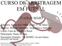 CURSO DE ARBITRAGEM E FUTEBOL DE CAMPO