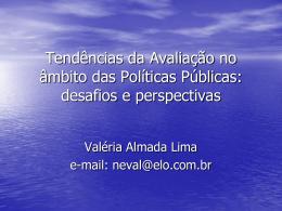 Concepções, Especificidades e Tipos de Avaliação de Políticas e
