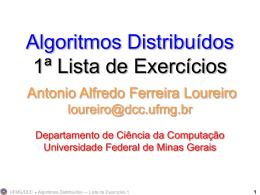 Algoritmos Distribuídos Lista de Exercícios 1 Antonio Alfredo