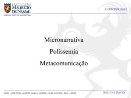 micronarrativa, polissemia e metacomunicação