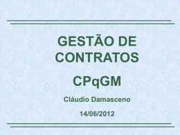 Gestão de Contratos no CPqGM