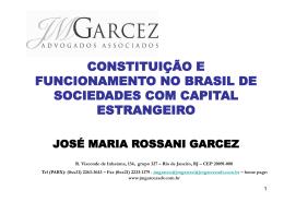 constituição e funcionamento no brasil de sociedades com