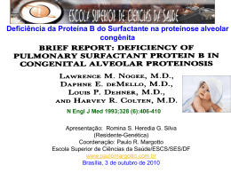 Deficiência da Proteína B do Surfactante na proteinose alveolar