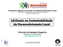 Programa Agente Promotor de Desenvolvimento Local - UBQ