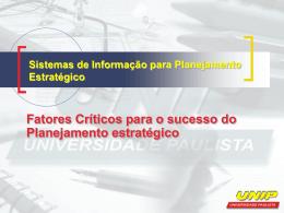 Fatores Críticos para o sucesso do Planejamento estratégico