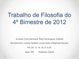 Trabalho de Filosofia do 4º Bimestre de 2012