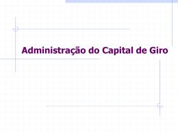 Administração do Capital de Giro - Webgiz