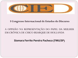 Siomara Ferrite Pereira Pacheco - I Congresso Internacional de