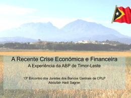 Respostas legislativas à recente crise económica