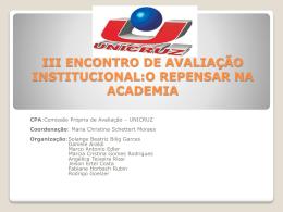 III ENCONTRO DE AVALIAÇÃO INSTITUCIONAL