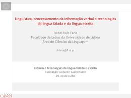 Isabel Hub Faria (Fac. Letras, Univ. Lisboa)