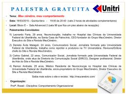 COMUNICADO DE PALESTRA