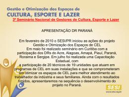 3º Seminário Nacional de Gestores de Cultura, Esporte e Lazer