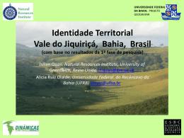 Dinâmicas Rurais Territoriais no Vale de Jiquiriçá, Bahia
