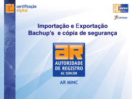 Import e Export do Backup