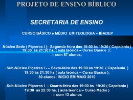 PROJETO DE ENSINO BÍBLICO - Assembléia de Deus Guaratuba