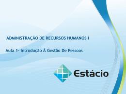 Para ADMINISTRAÇÃO DE RECURSOS HUMANOS I