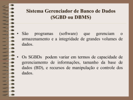 Sistema Gerenciador de Banco de Dados (SGBD ou