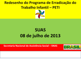 Redesenho PETI Gestão SUAS - Assistência e Desenvolvimento