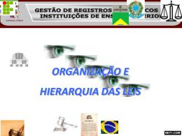 ORGANIZAÇÃO E HIERARQUIA DAS LEIS – ESCOLAS