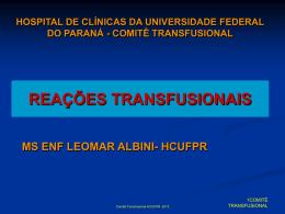 reações transfusionais - Hospital de Clínicas/UFPR