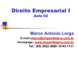 Aula Empresarial 02 - Do Direito de Empresa