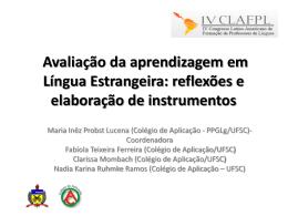 CLAFPL - Avaliação da Aprendizagem em Línguas Estrangeiras