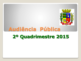 Relatório 2º Quadrimestre 2015 - Prefeitura Municipal de Arroio dos
