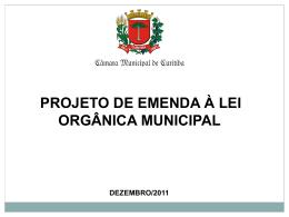 Veja a apresentação da Lei Orgânica Municipal