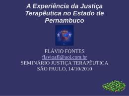 A Experiência da Justiça Terapêutica no Estado de Pernambuco